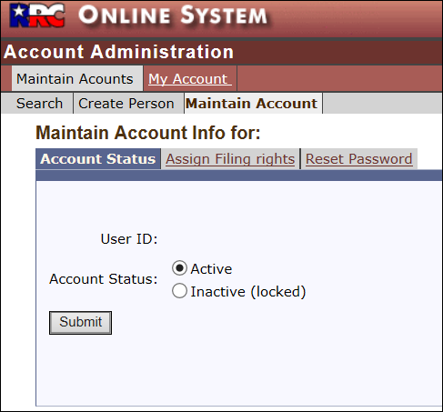 Account Status screen